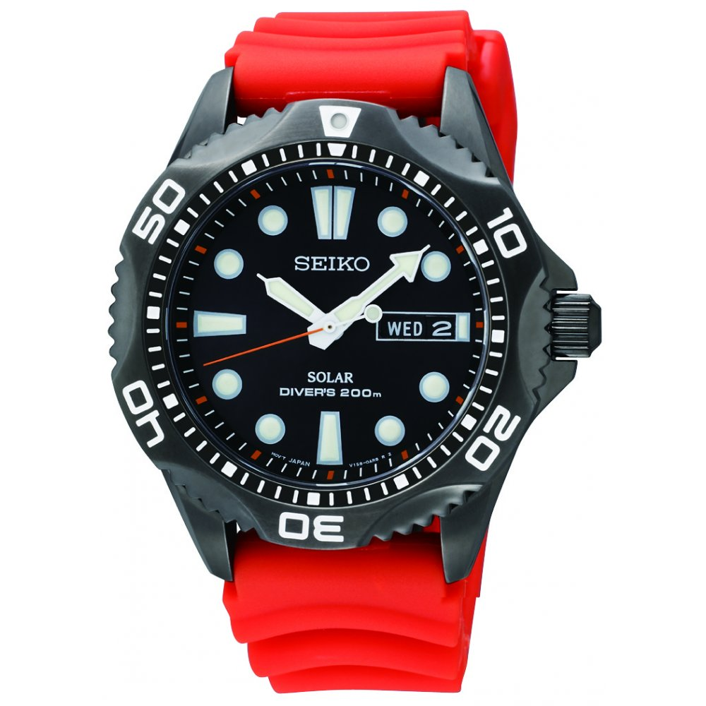 Gents Seiko Solar Divers Watch On Orangs Rubber Strap Sne245p9