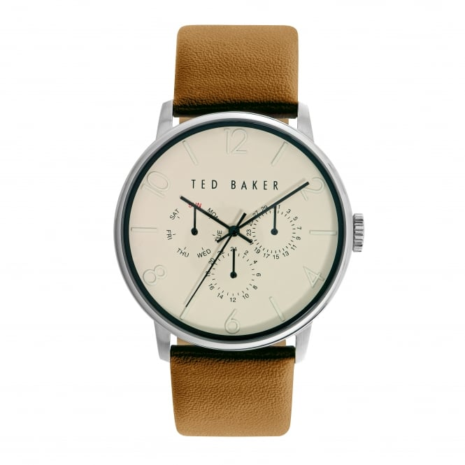 Gents Stainless Steel Battery Watch on Leather Strap TE10029569