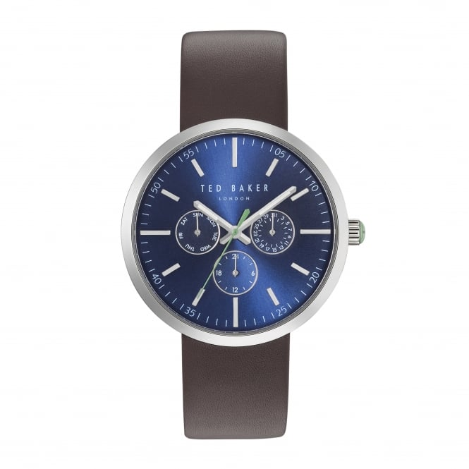 Gents Stainless Steel Battery Watch on Leather Strap TE10031500