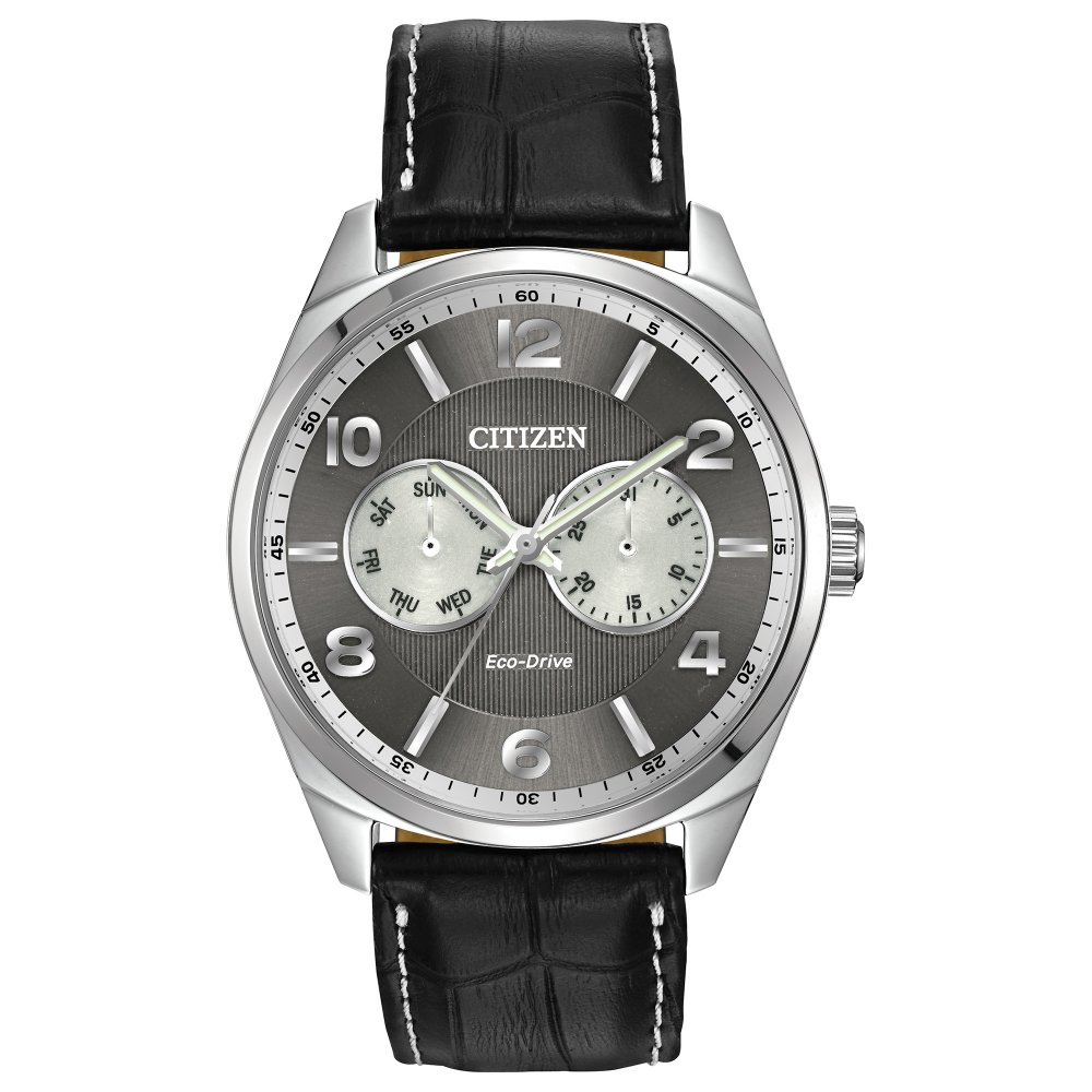 Citizen Gents Stainless Steel Eco-Drive Watch, Leather ...