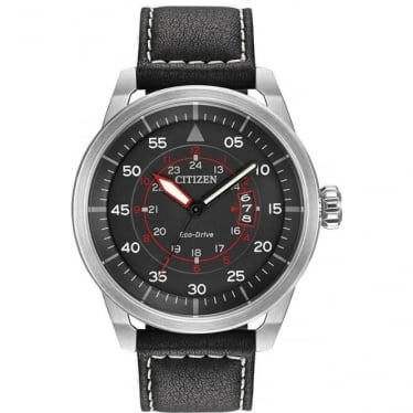Gents Stainless Steel Eco-Drive Watch, leather Strap AW1361-01E