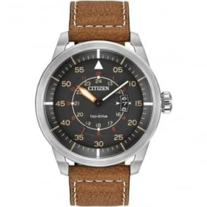 Gents Stainless Steel Eco-Drive Watch, Leather Strap AW1361-10H