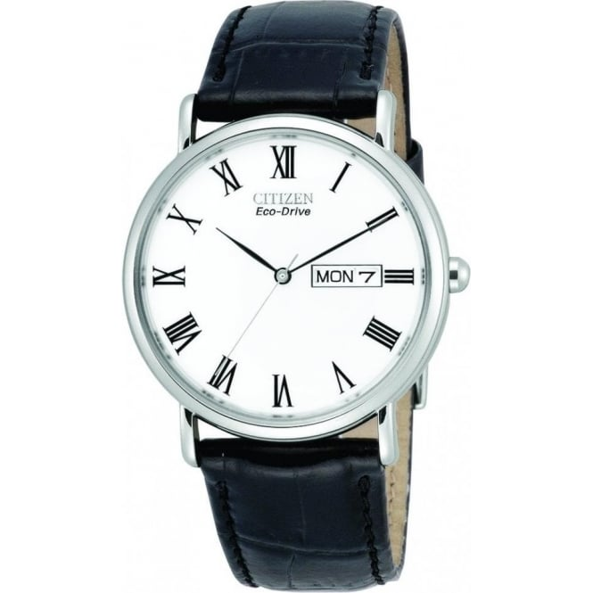 Citizen Watch Gents Stainless Steel Eco-Drive Watch, Leather Strap BM8240-11A