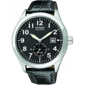 Gents Stainless Steel Eco-Drive Watch, Leather Strap BV1060-07E