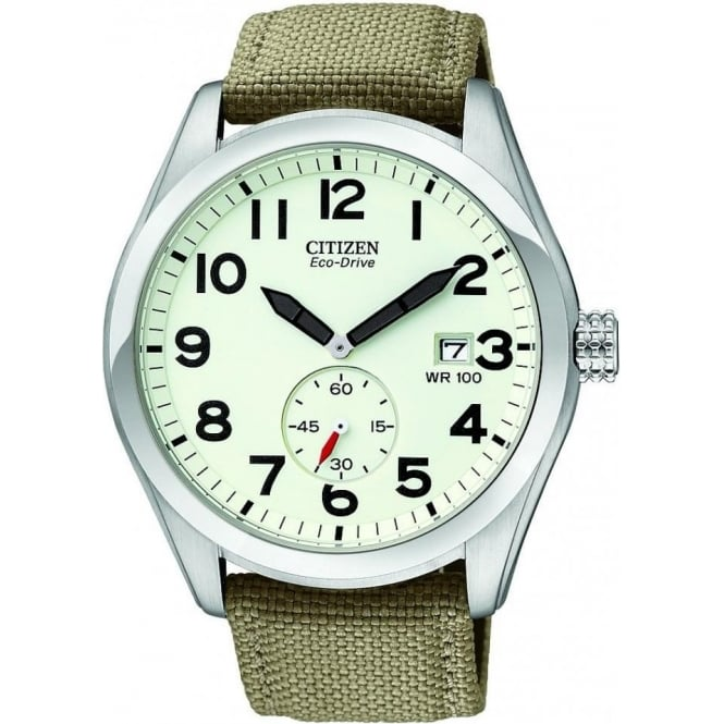 Citizen Watch Gents Stainless Steel Eco-Drive Watch on Fabric Strap BV1080-18A