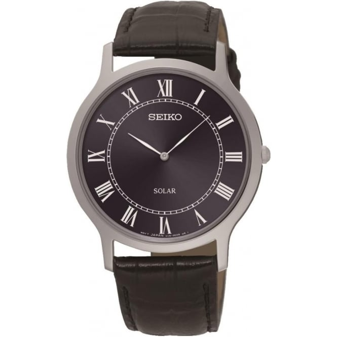 Seiko Watches Gents Stainless Steel Seiko Solar Watch, Leather Strap SUP867P1