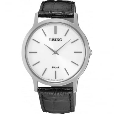 Gents Stainless Steel Seiko Solar Watch on Strap SUP873P1