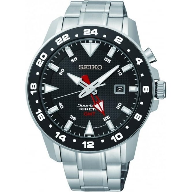 Seiko Watches Gents Stainless Steel Sportura Kinetic GMT Watch SUN015P1
