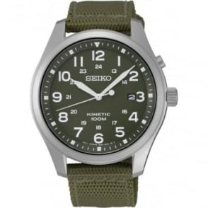 Gents Steel Seiko Kinetic Watch on Green StrapSKA725P1