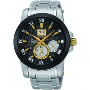 Gents Steel Seiko Premier Kinetic Perpetual Watch SNP129P1