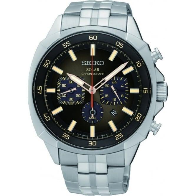 Seiko Watches Gents Steel Seiko Solar Chronograph Bracelet Watch SSC511P9