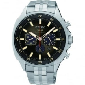 Gents Steel Seiko Solar Chronograph Bracelet Watch SSC511P9