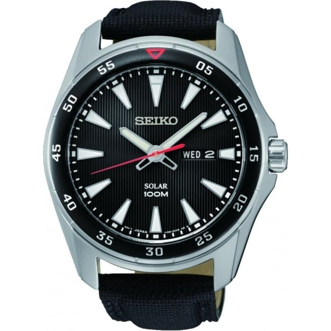 Gents Steel Seiko solar Watch on Leather Strap SNE393P2