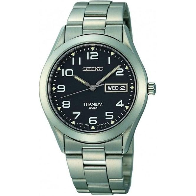 Seiko Watches Gents Titanium Quartz Battery Watch on Bracelet SGG711P9