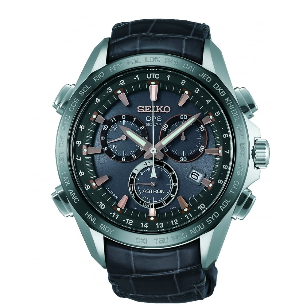 3e5a4e729 Gents Titanium Solar GPS Chronograph Watch on Leather Strap SSE023J1