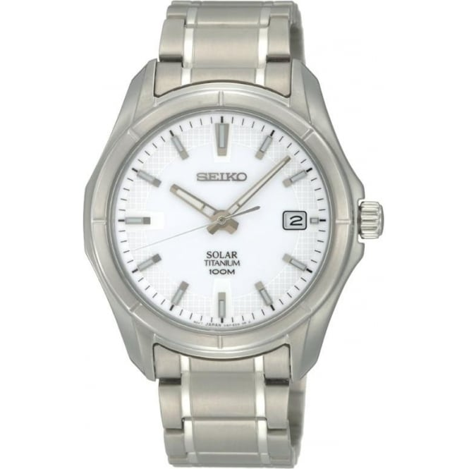 Seiko Watches Gents Titanium Solar Watch on Bracelet. SNE139P1