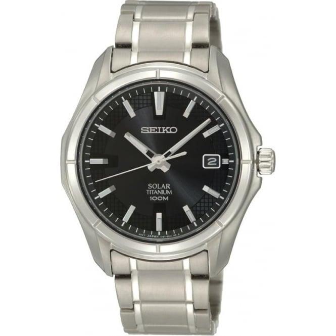 Seiko Watches Gents Titanium Solar Watch on Bracelet SNE141P1