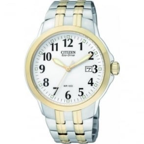 Gents Two Tone Eco-Drive Clear Watch on Bracelet BM7094-50A