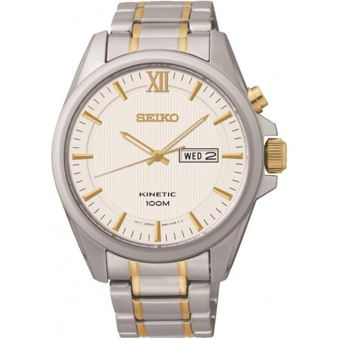 Gents Two tone Seiko Kinetic Bracelet Watch SMY161P1