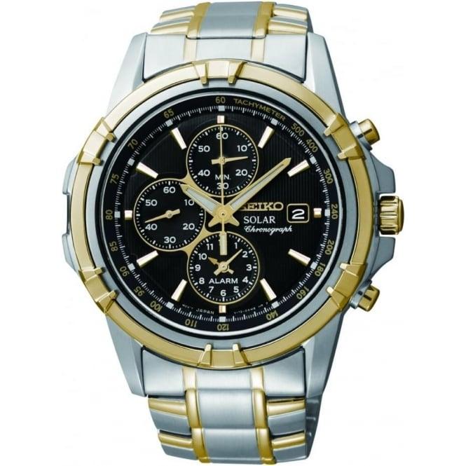 Seiko Watches Gents Two Tone Seiko Solar Chronograph Watch, Bracelet SSC142P1
