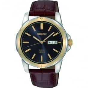 Gents Two Tone Seiko Solar Watch on Leather Strap SNE102P9