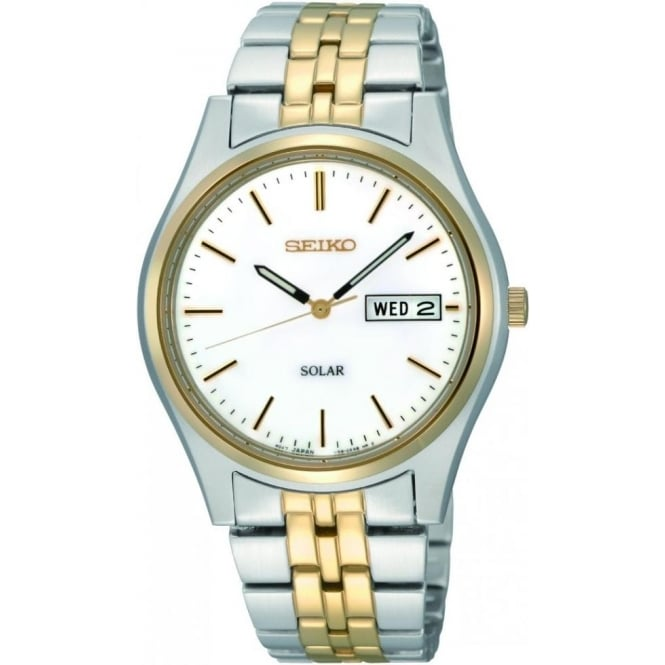 Seiko Watches Gents Two Tone Stainless Steel Solar Watch SNE032P1