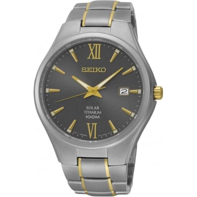 Seiko Watches Gents Two Tone Titanium Seiko Solar Bracelet Watch SNE409P1