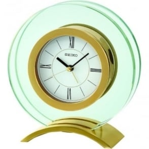 Glass Gold Finish Mantle Alarm Clock Height 15cm QHE057G