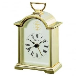 Gold Coloured Carriage Clock with Alarm QHE004G
