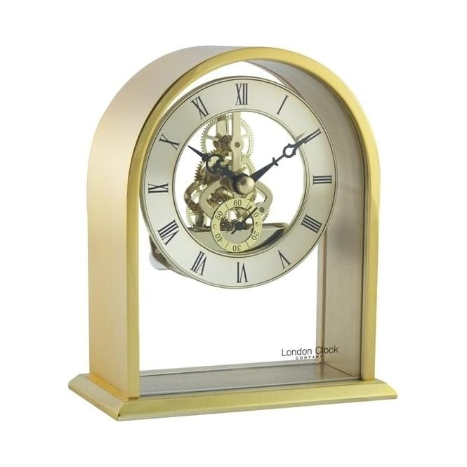 London Clock Company Gold Coloured Quartz Battery Skeleton Mantle Clock 03128