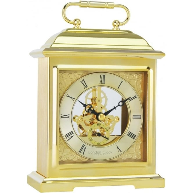 London Clock Company Gold Finish Battery Mantle Clock with Skeleton Movement 04106