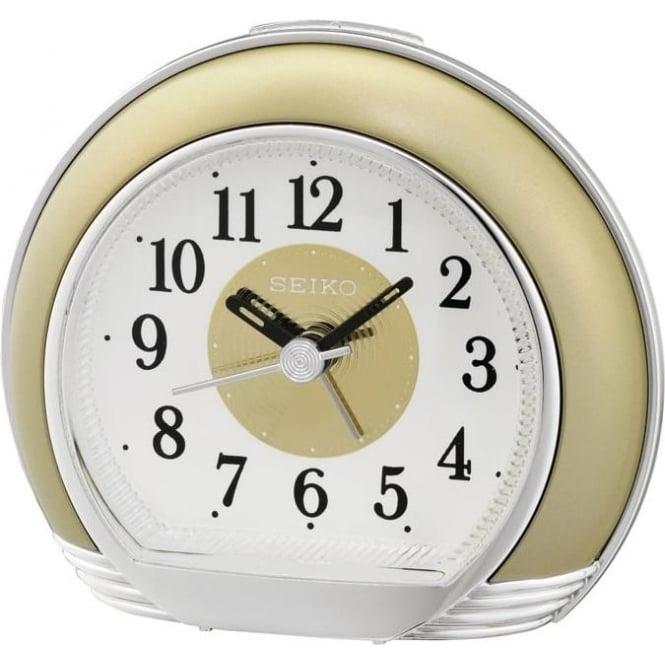 seiko gold finish beep alarm clock with light snooze qhe119g