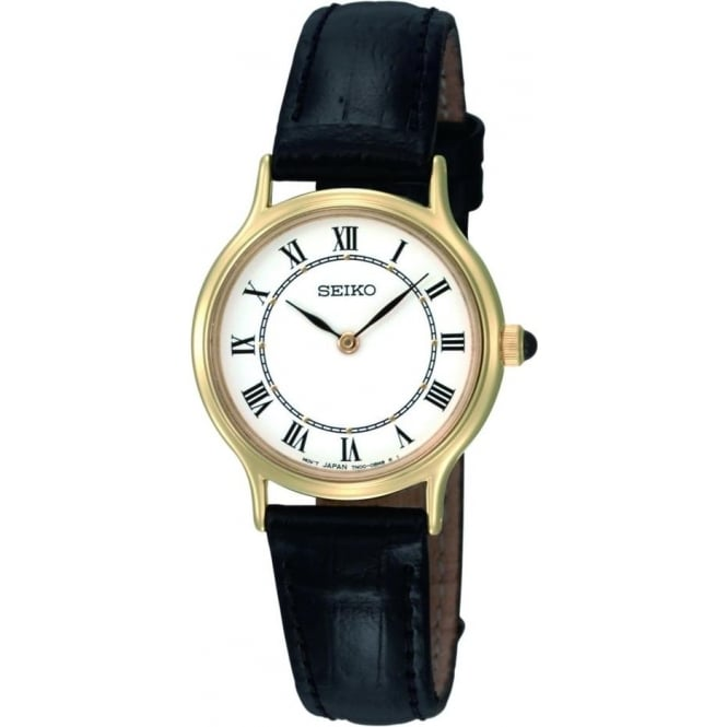 Seiko Watches Gold Finish Ladies Watch on Black Leather Strap SFQ830P1