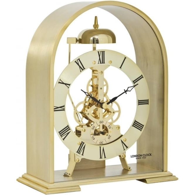 London Clock Company Gold Finish Quartz Mantle Clock with Hourly Passing Strike 06397