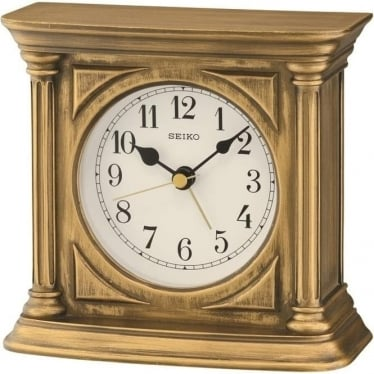 Gold Finish Seiko Mantle clock with Alarm QXE051G