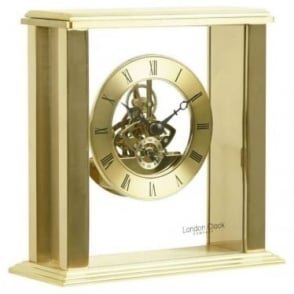 Gold Finish Skeleton Quartz Battery Mantle Clock 03151