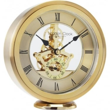 Gold Finish Skeleton Quartz Mantle Clock Height 16cm 04114