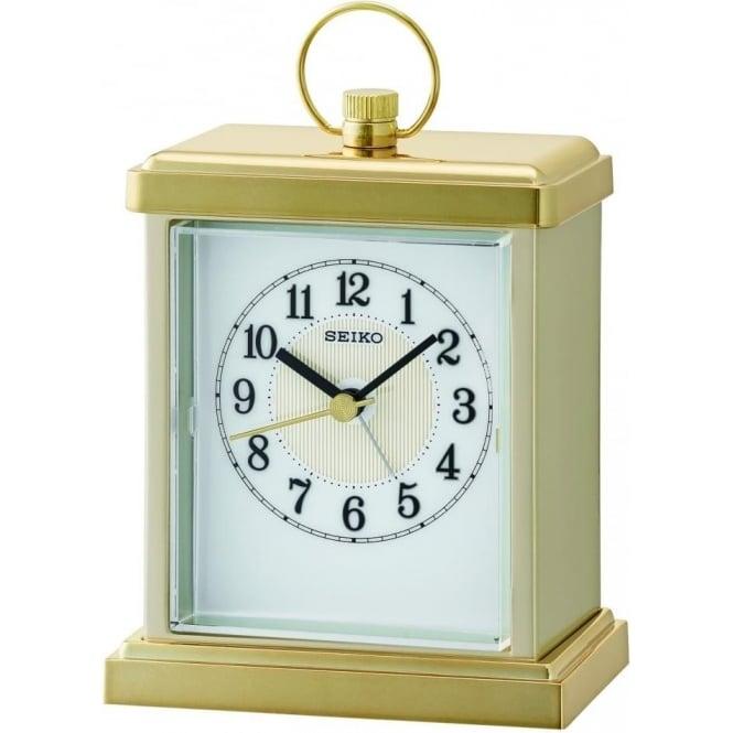 Seiko Clocks Gold Tone Seiko Quartz Battery Carriage Mantle Clock QHE148G