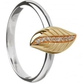 Silver and Irish Gold Cubic Zirconia Leaf Ring H-20007