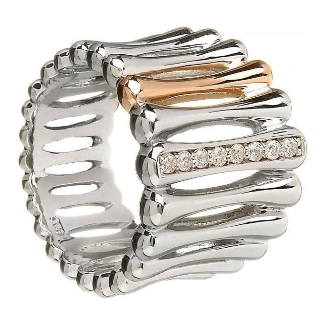House of Lor Silver & Irish Gold Bar Ring H-20006