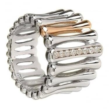 Silver & Irish Gold Bar Ring H-20006