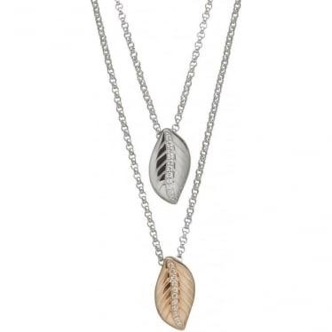 Silver & Irish Gold Double Leaf Pendant H-40028