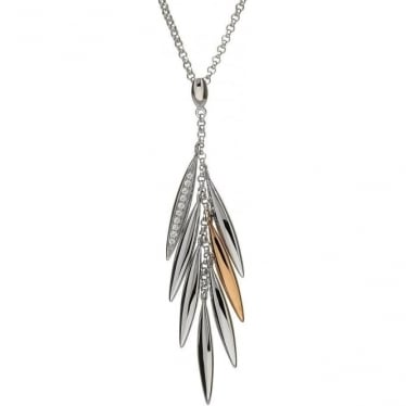 Silver & Irish Gold Feather Pendant H-40018