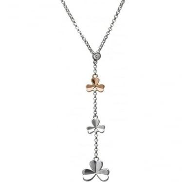 Silver & Irish Gold Shamrock Pendant H-40014