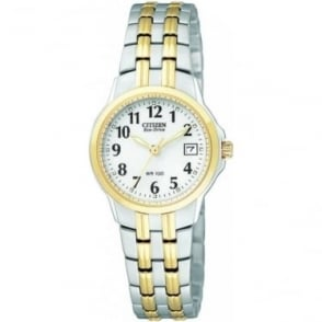 Ladies 2 Tone Citizen Eco-Drive Watch EW1544-53A