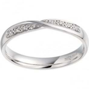 Ladies 9ct White Gold 3mm Wide Shaped Diamond Set Wedding Ring