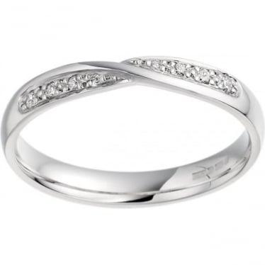 Ladies 9ct White Gold 3mm Wide Shaped Diamond Set Wedding Ring