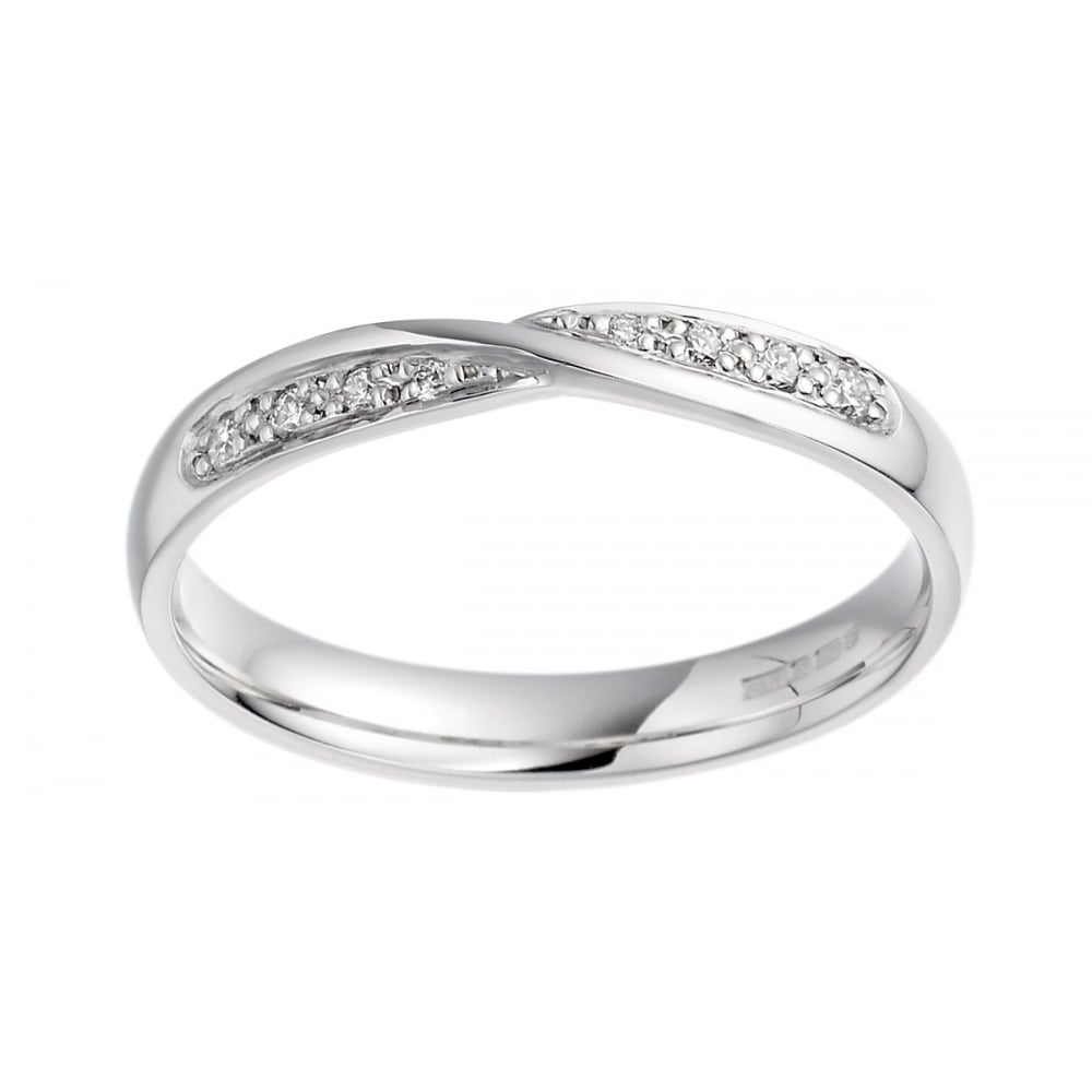 This is an image of Rigby Jewellers Own Brand Ladies 47ct White Gold 47mm Wide Shaped Diamond Set Wedding Ring
