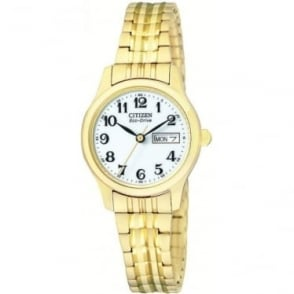 Ladies Citizen Eco-Drive Gold Plated Watch, Bracelet EW3152-95A