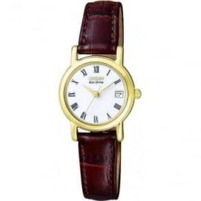 Ladies Citizen Eco-Drive Watch on Brown Strap EW1272-01B